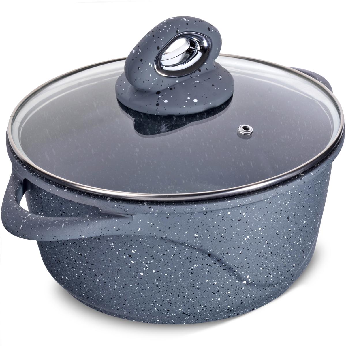 """Кастрюля """"Mayer & Boch"""" изготовлена из литого алюминия, что исключает возможность деформации и гарантирует долгий срок службы. Утолщенное, выполненное из алюминия дно обеспечивает идеальный контакт с конфоркой и способствует равномерному разогреванию пищи. Мраморное антипригарное покрытие позволяет готовить, практически не используя растительное масло, что значительно увеличивает полезность приготовляемой еды. Крышка из жаропрочного стекла с пароотводом. Подходит для всех видов плит, кроме индукционных."""
