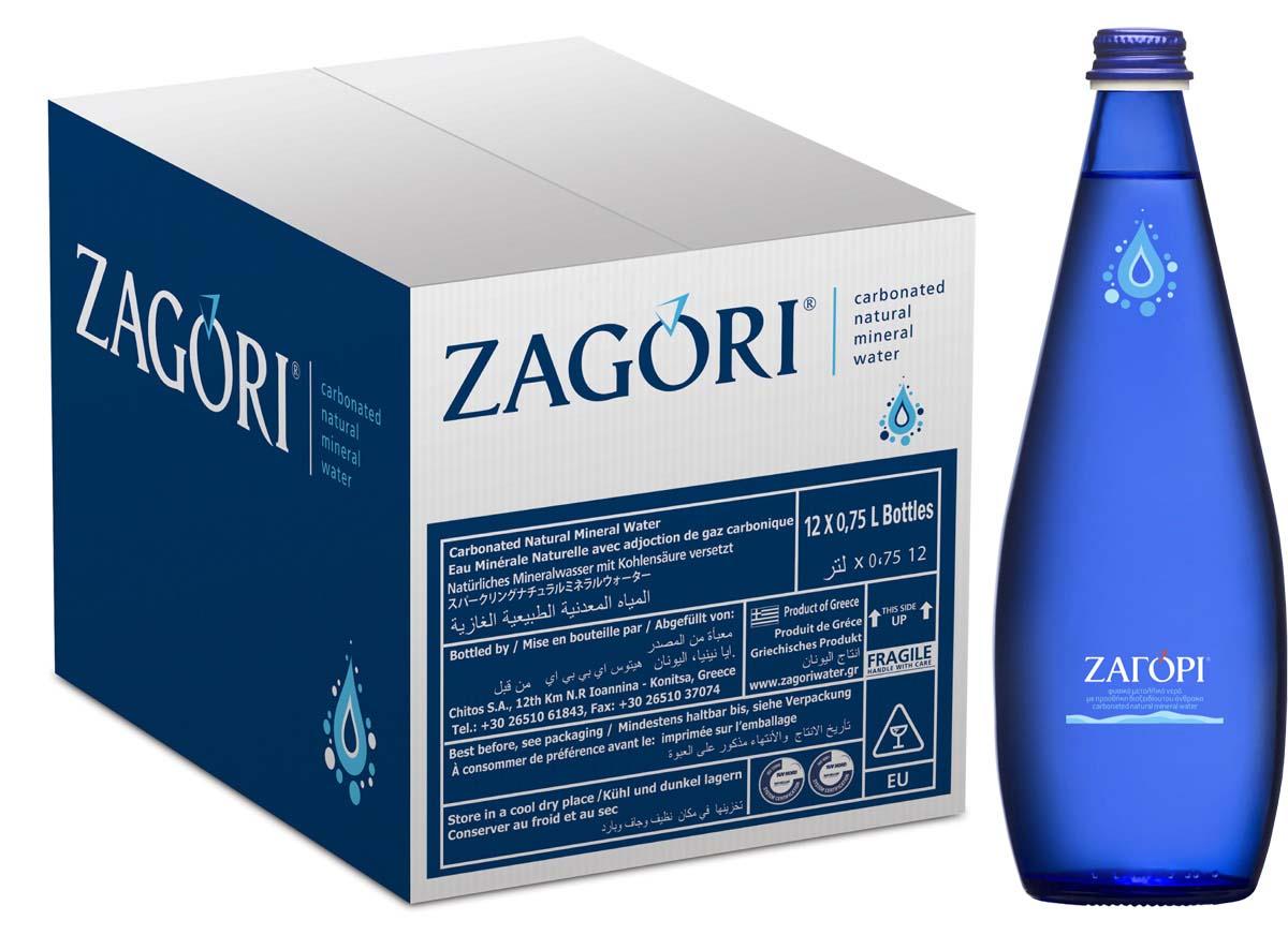 Zagori Вода природная минеральная столовая газированная, 12 шт по 0,75 л стекло