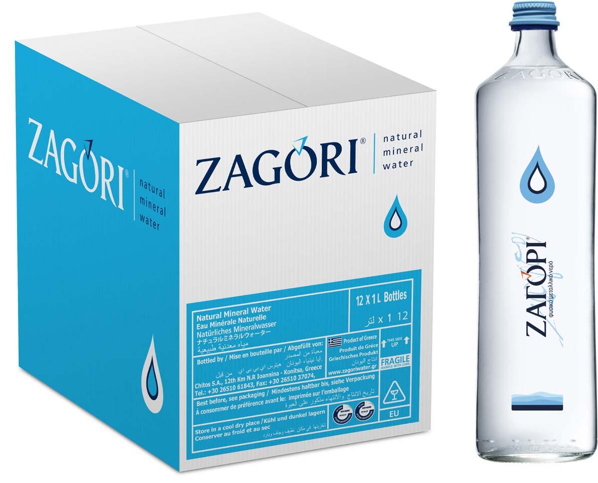 Zagori Вода природная минеральная столовая негазированная, 12 шт по 1 л стекло zagori вода природная минеральная столовая газированная 12 шт по 0 75 л стекло