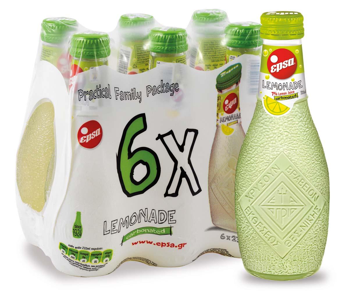 Epsa Лимонад напиток газированный с соком , 6 шт по 0,232