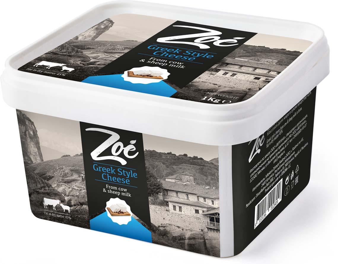 Zoe Сыр Фета из коровьего и овечьего молока в рассоле 45%, 1 кг volkomolko сыр фета веганский 280 г