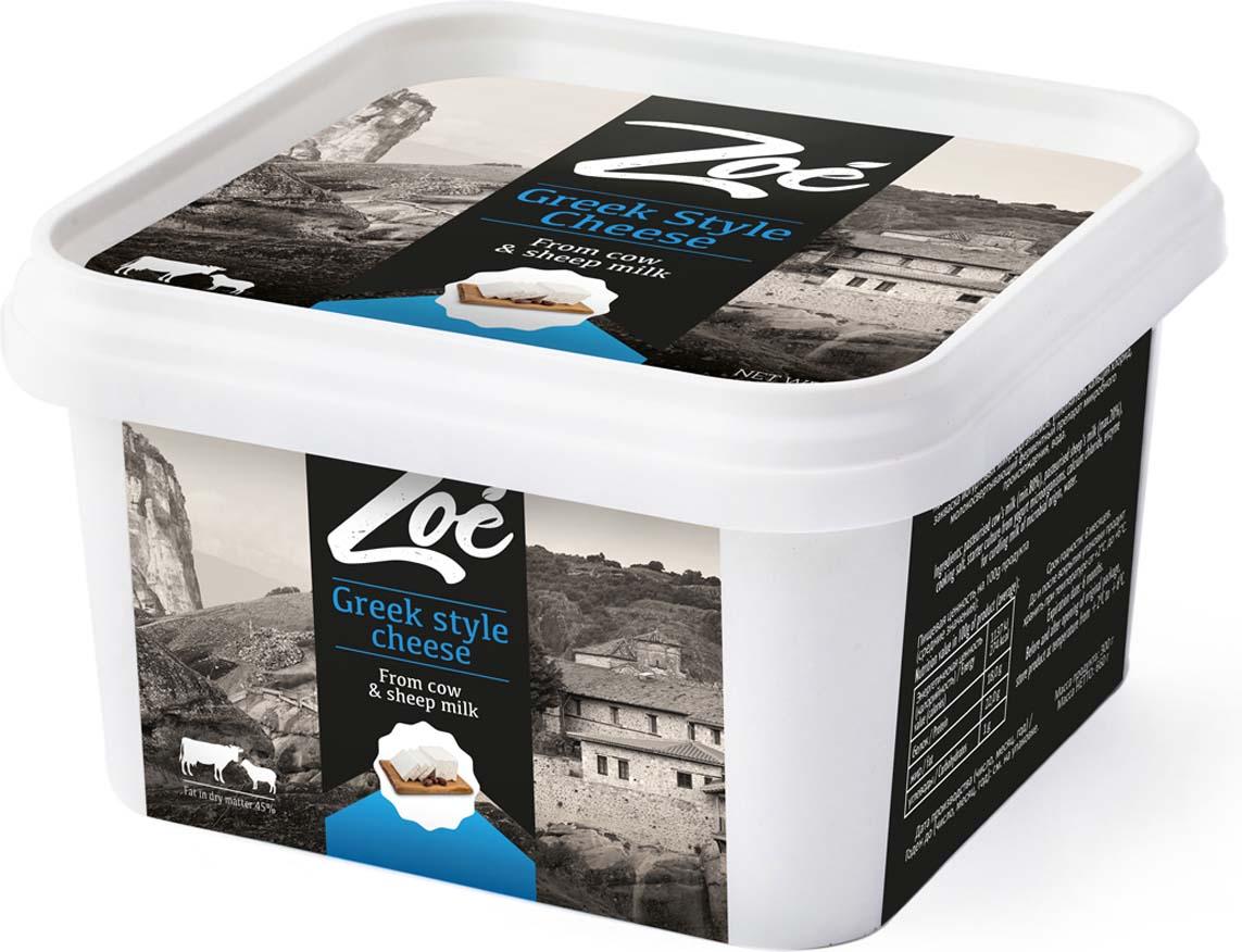 Zoe Сыр Фета из коровьего и овечьего молока в рассоле 45%, 300 г молоко