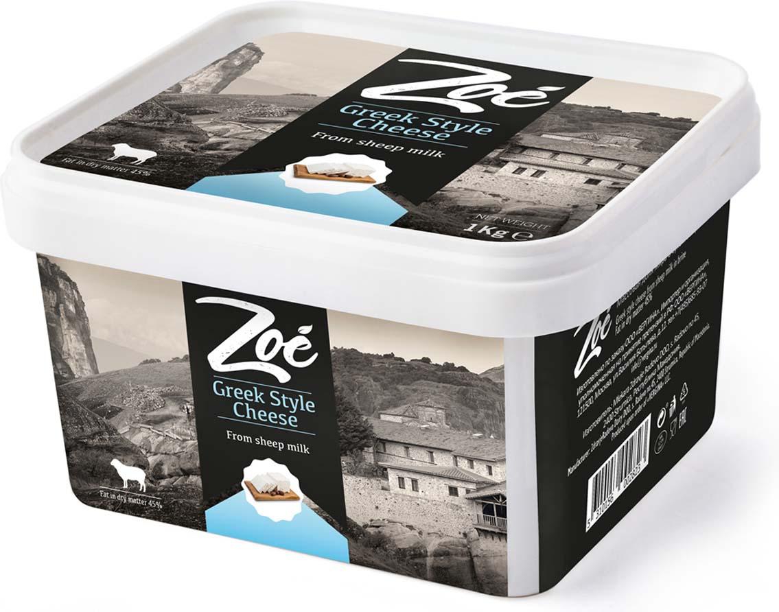 Zoe Сыр Фета из овечьего молока в рассоле 45%, 1 кг volkomolko сыр фета веганский 280 г
