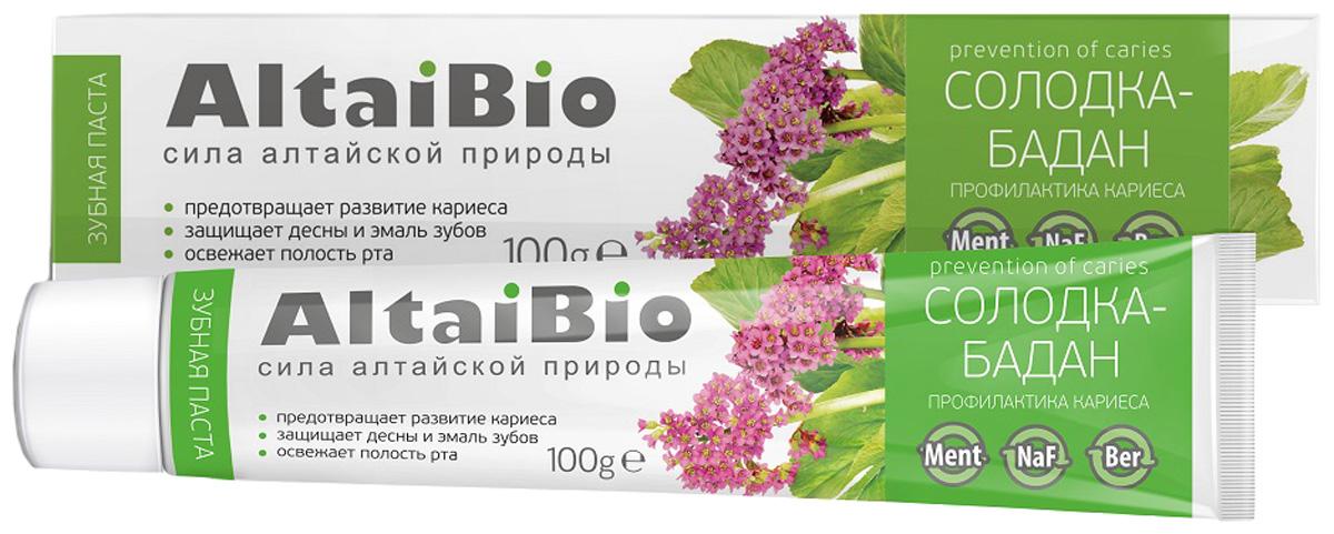 AltaiBio Зубная паста для профилактики кариеса Солодка-Бадан, 100 г splat зубная паста детская яблоко банан от 0 до 3 лет 40 мл