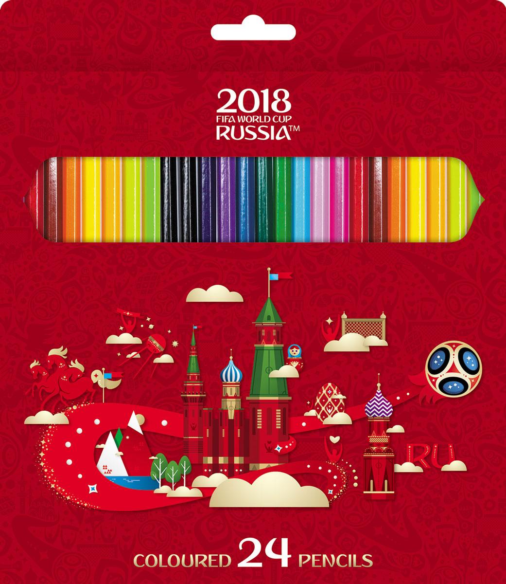 Hatber ЧМ 2018 Карандаши цветные с точилкой 24 цвета hatber чм 2018 карандаши цветные талисман с точилкой 24 цвета