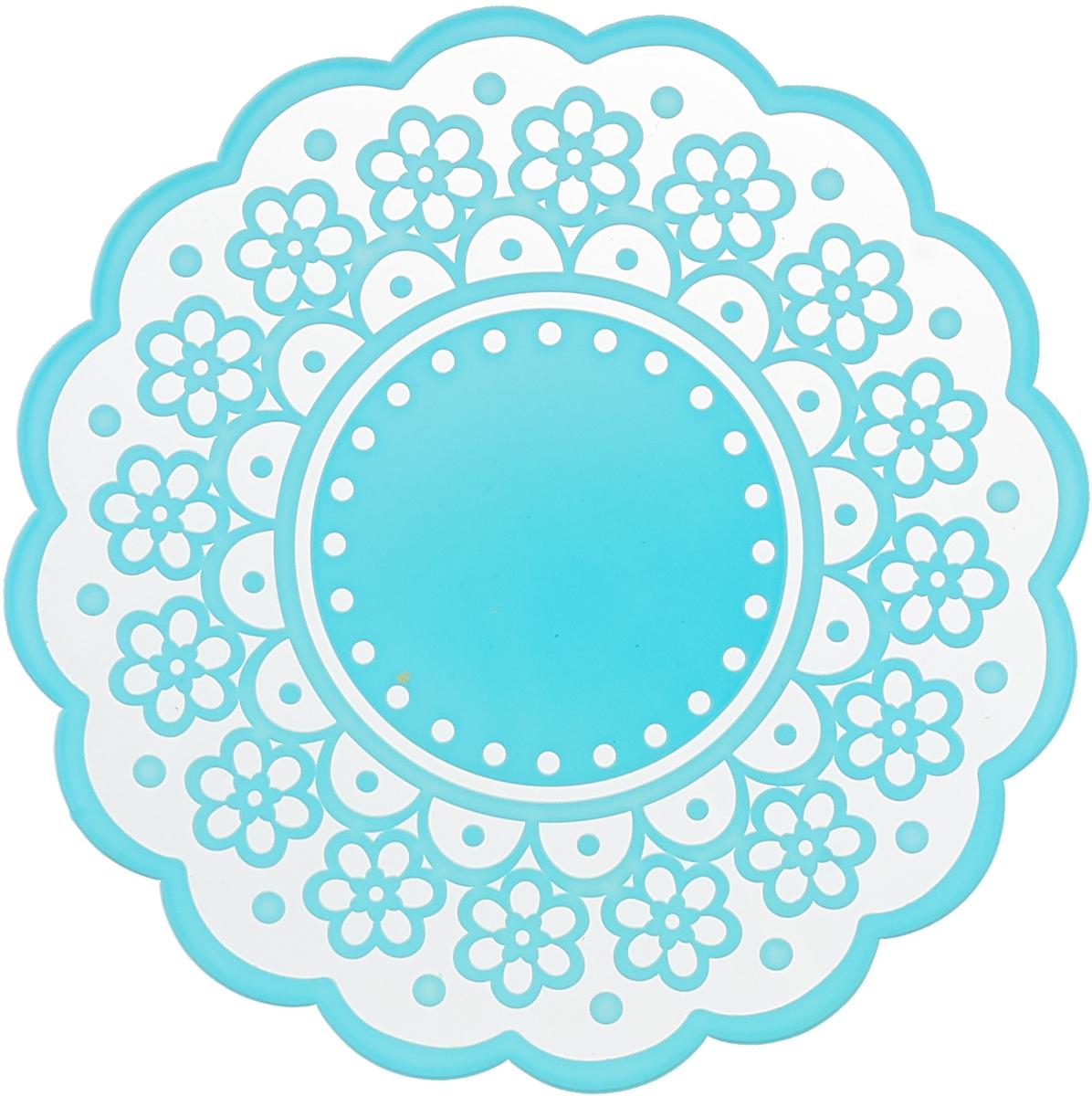 Подставка под горячее Доляна Цветение, цвет: голубой, 17 см набор подставок под горячее доляна позитив цвет зеленый 2 шт