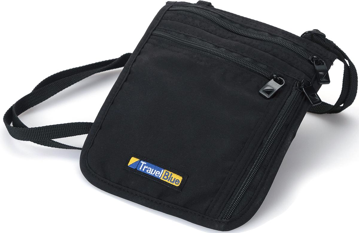 Кошелек дорожный Travel Blue Ultra Slim Neck Carrier, цвет: черный, 14 х 15 см