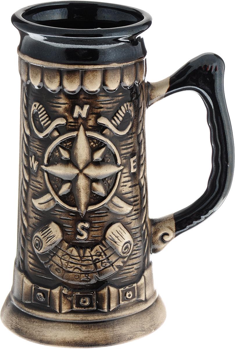 Кружка пивная Керамика ручной работы Флинт, цвет: серый, 500 мл. 1148256 кружка керамика ручной работы мелодия подсолнух 300 мл