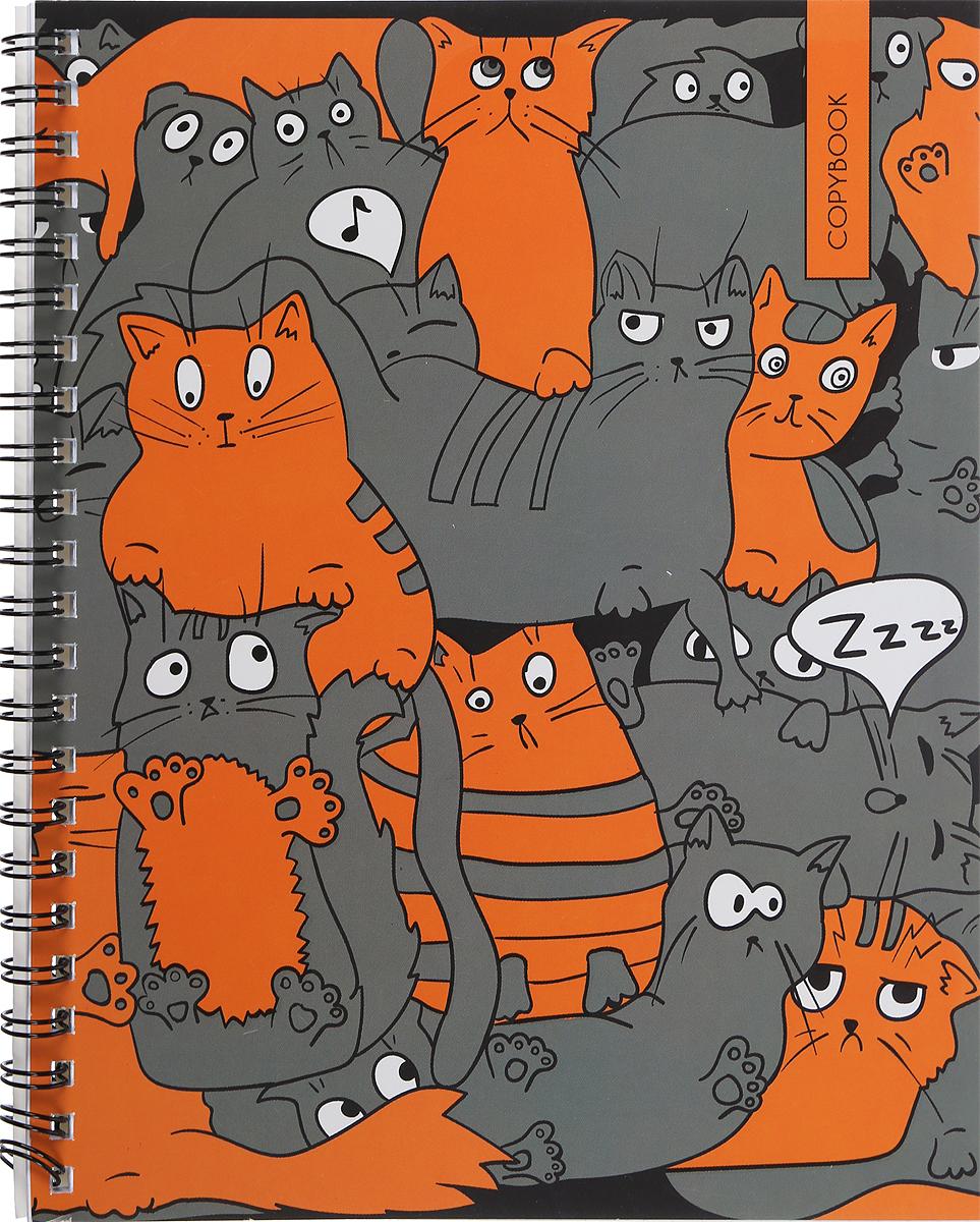 Unnika Land Тетрадь Кошачье совещание 48 листов в клетку цвет серый оранжевый, Тетради  - купить со скидкой