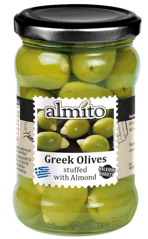 Almito Греческие оливки фаршированные отборным миндалем, 320 мл lorado оливки фаршированные лимоном 314 мл