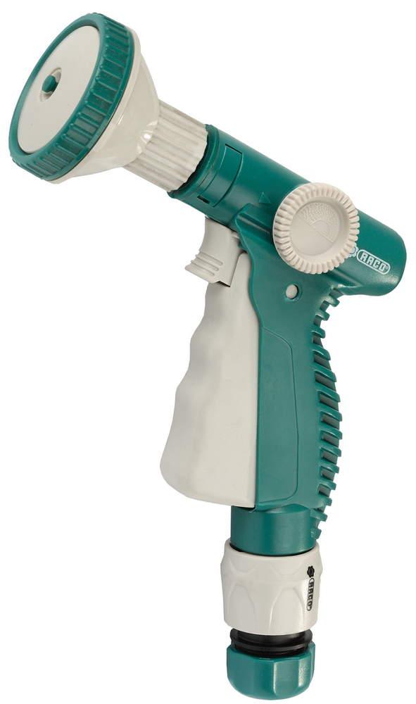 Пистолет-распылитель RACO применяется для полива растений при подключении к садовому шлангу. Корпус из ударопрочного ABS-пластика обеспечивает надежную защиту от протекания и позволяет работать с горячей и холодной водой. Фиксация курка обеспечит непрерывность подачи воды. Плавная регулировка от сильной струи до распыления облегчает работу. Специальная кнопка для снятия фиксации с курка. Четыре режима работы: аэрирование, конус, жесткая струя, распыление.-Материал изделия: ABS-пластик; -Регулировка напора струи: да; -Фиксация курка: да;-Количество режимов работы: 4 шт.-Режимы работы: Круг, конус, жесткая струя, распыление.