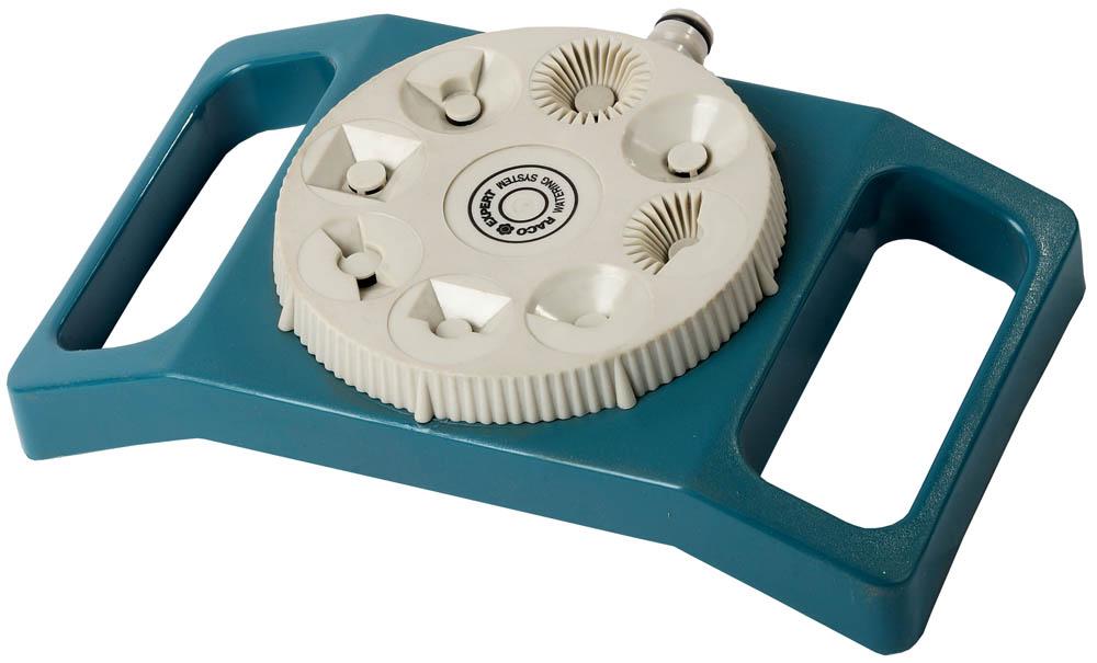 Распылитель 8-позиционный RACO применяется для стационарного полива растений при подключении к водопроводному шлангу с помощью соединителя. Изготовлен из высокопрочного пластика, который обеспечивает надежную защиту изделия от внешнего воздействия. Разнообразные формы отверстий позволяют поливать участки разной формы и площади. Восемь режимов работы: полный круг, звездочка, квадрат, полоска, 1/4 круга, прямоугольник, полузвездочка, 3/4 круга. Прочное основание прямоугольной формы придает распылителю дополнительную устойчивость.
