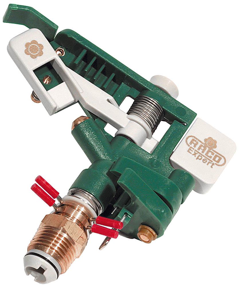 """Распылитель RACO импульсный применяется для стационарного полива растений при подключении к водопроводному шлангу с помощью соединителя. Специальный материал изделия гарантирует защиту от коррозии и обеспечивает малый вес. Может быть установлено в любые поливочные системы аналогичного стандарта. Благодаря высокоточному латунному соплу диаметром 3,5 мм разбрызгиваемая струя не отклоняется при сильном ветре. Сектор полива до 360°. Диаметр внешней резьбы соединения 1/2""""."""