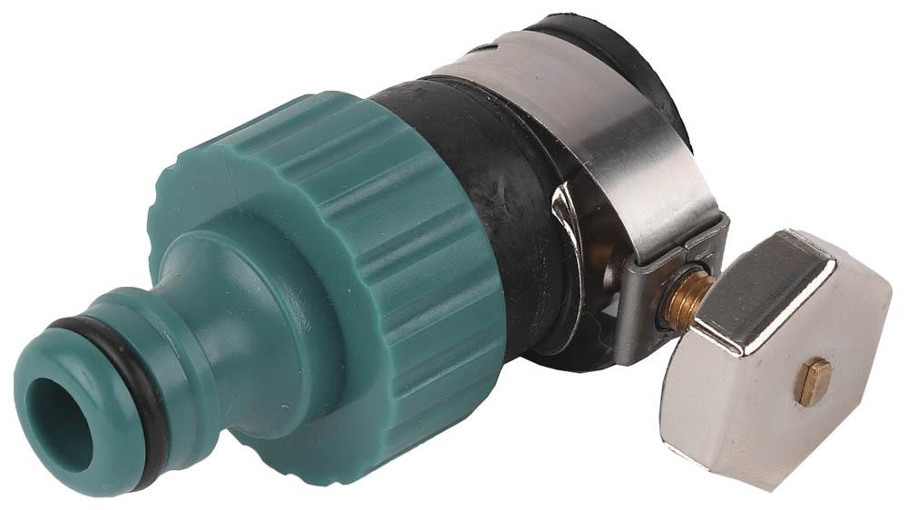 Адаптер внешний (соединитель-труба) применяется как переходник между соединителем и трубой диаметром 14–17 мм без резьбового соединения. Высококачественный ударопрочный пластик надежно защищает от протечек. Стальной хомут для качественного сцепления трубы без резьбы. Изделия совместимы с другими поливочными системами RACO, а также аналогичными системами других производителей.-Диаметр хомута: 14-17 мм;-Материал хомута: сталь;-Материал адаптера: ABS-пластик.