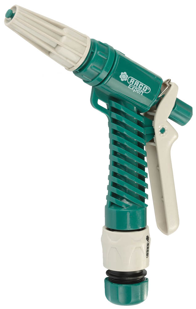 Пистолет-распылитель RACO применяется для полива растений при подключении к садовому шлангу. Корпус из ударопрочного ABS-пластика обеспечивает надежную защиту от протекания и позволяет работать с горячей и холодной водой. Плавная регулировка от сильной струи до распыления облегчает работу. Фиксация курка обеспечит непрерывность подачи воды. Специальная кнопка для снятия фиксации с курка.-Материал изделия: ABS-пластик;-Регулировка напора струи: да; -Фиксация курка: да.