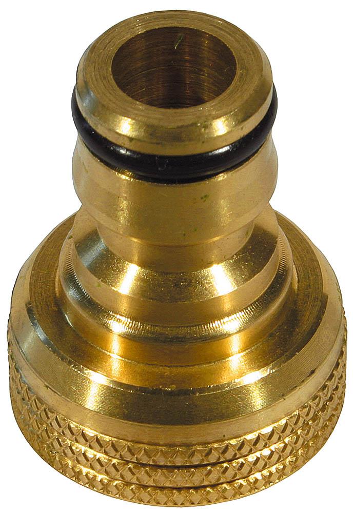 """Адаптер внешний RACO применяется как переходник между соединителем и трубой с внешней резьбой. Высокое качество каждого изделия гарантирует продолжительный срок службы.Изделие совместимо с другими поливочными системами RACO, а также аналогичными системами других производителей.-Диаметр: 3/4"""";-Материал изделия: латунь; -Полировка покрытия: да; -Тип резьбы: внутренняя."""