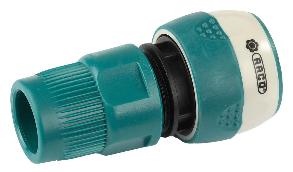 """Соединитель RACO (шланг-насадка) применяются для быстрого и надежного соединения шланга 1/2"""" с любой насадкой. Корпус из ударопрочного пластика исключает протечки, значительно продлевая службу изделия. Специально разработанный нейлоновый элемент прижимной муфты соединителя обеспечивает надежную защиту шланга от перегиба. Мягкая термопластичная резина повышает удобство в работе. Изделие совместимо с другими поливочными системами RACO, а также аналогичными системами других производителей.-Диаметр: 1/2""""; -Защита шланга от перегиба: да; -Материал защиты от перегиба: нейлон; -Материал изделия: ABS-пластик; -Материал покрытия: термопластичная резина."""