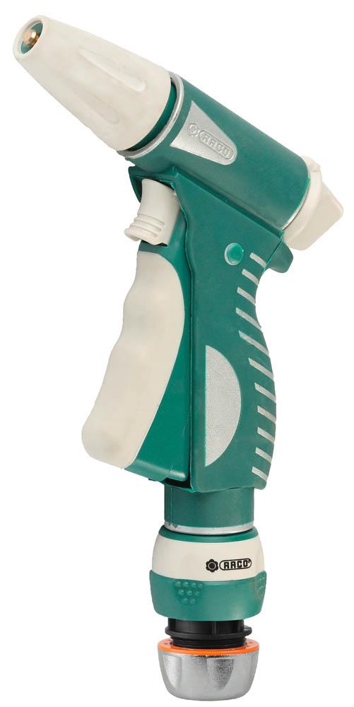 """Пистолет-распылитель RACO применяется для полива растений при подключении к садовому шлангу. В комплект поставки входит соединитель 1/2"""". Высококачественное латунное сопло распылителя покрыто мягкой термопластичной резиной. Запатентованные курок-фиксатор и ручка покрыты специальной термопластичной резиной для предотвращения проскальзывания в руке. Усиленный металлический корпус с антикоррозионной обработкой защитит пистолет от внешних воздействий. Ребристое покрытие рукоятки из термопластичной резины защищает от проскальзывания. Легкая и плавная регулировка от сильной струи до распыления.-Материал сопла: латунь; -Покрытие сопла: резина; -Материал корпуса: металл; -Покрытие корпуса: резина; -Регулировка напора воды: да; -Фиксатор напора: да; -Покрытие рукоятки: резина;-Диапазон рабочих температур: от +60 до -5 °С;-Покрытие курка: резина."""