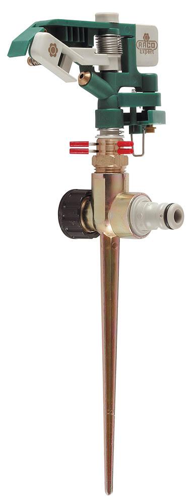 """Распылитель импульсный RACO применяется для стационарного полива растений при подключении к водопроводному шлангу с помощью соединителя. Специальный материал изделия гарантирует защиту от коррозии и обеспечивает малый вес. Может быть установлено в любые поливочные системы аналогичного стандарта. Благодаря высокоточному латунному соплу диаметром 3,5 мм разбрызгиваемая струя не отклоняется при сильном ветре. Два соединительных гнезда позволяют создать цепочку из поливочных распылителей. Сектор полива до 360°. Диаметр внешней резьбы соединения 1/2""""."""