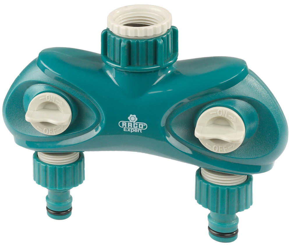 """Распределитель поливочный RACO применяется для одновременного подключения двух водозаборных линий к садовому крану или трубе с внешней резьбой диаметром 3/4"""" или 1"""". Высококачественный ударопрочный пластик надежно защищает от протечек. Оба выхода являются автономными и оснащены выключателями потока воды. Позволяет одновременно присоединить два электронных таймера подачи воды. Изделие совместимо с другими поливочными системами RACO, а также аналогичными системами других производителей.-Диаметр: 3/4""""х1""""; -Материал: ABS-пластик; -Количество выходов потока: 2 шт."""