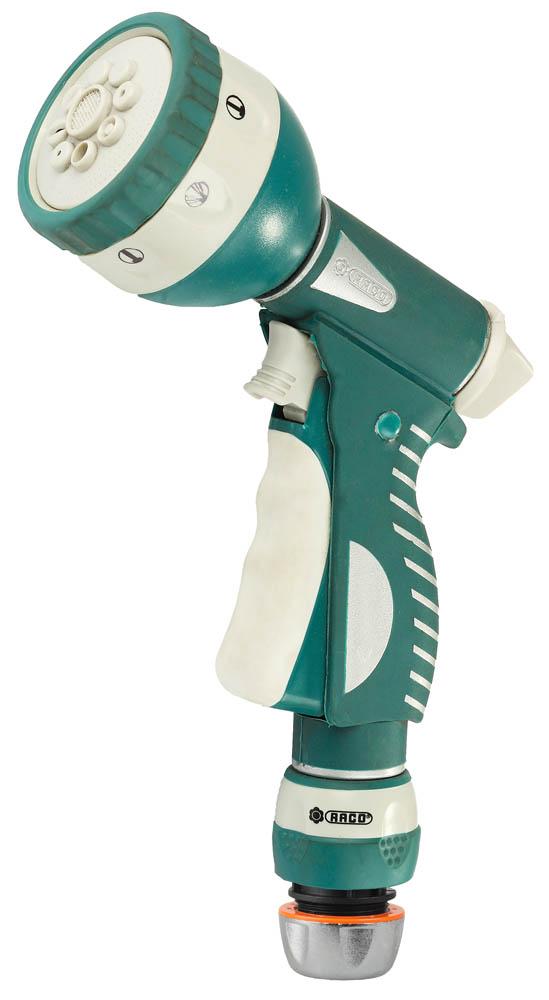"""Пистолет-распылитель RACO применяется для полива растений при подключении к садовому шлангу. Прочный и надежный металлопластиковый корпус гарантирует продолжительный срок службы изделия. В комплект поставки входит соединитель 1/2"""". Усиленный металлический корпус с антикоррозионной обработкой защитит пистолет от внешних воздействий. Высококачественное латунное сопло распылителя покрыто мягкой термопластичной резиной. Запатентованные курок-фиксатор и ручка покрыты специальной термопластичной резиной для предотвращения проскальзывания в руке. Кнопка для снятия фиксации с курка облегчает проводимую работу. Восемь режима работы: мягкая струя, водяной конус, аэрирование, жесткая струя, слабая струя, душ, вертикальный полив, плоская струя.-Материал сопла: латунь; -Материал корпуса: металл; -Фиксатор: да; -Материал защитного кольца: резина; -Количество режимов работы: 8 шт.;-Покрытие ручки: резина; -Диапазон рабочих температур: от +60 до -5 °С;-Регулировка набора струи: да."""