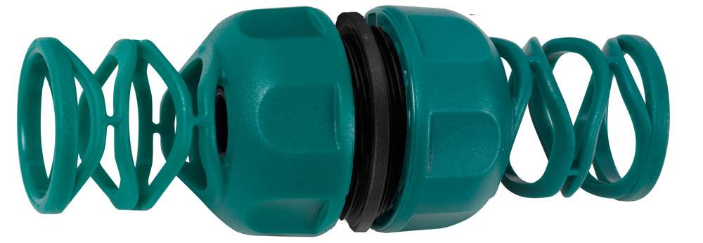 """Муфта RACO шланг-шланг применяется для быстрого и надежного соединения (удлинения) двух участков поливочного шланга диаметром 3/4"""". Высококачественный ударопрочный пластик надежно защищает от протечек. Специальный элемент прижимной муфты надежно предохраняет шланг от перегиба. Изделие совместимо с другими поливочными системами RACO, а также аналогичными системами других производителей.-Диаметр: 3/4""""; -Материал адаптера: ABS-пластик."""
