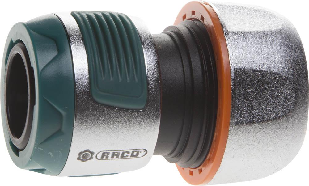"""Соединитель RACO """"Profi-Plus"""" (шланг-насадка) применяется для быстрого и надежного соединения шланга 3/4"""" с любой насадкой. Использование ударопрочного пластика позволяет предотвратить протечки. Цинковый сплав защищает изделие от коррозии. Мягкая термопластичная резина повышает удобство в работе. Изделие совместимо с другими поливочными системами RACO, а также аналогичными системами других производителей.-Диаметр: 3/4""""; -Материал изделия: ABS-пластик; -Материал корпуса: цинковый сплав; -Материал покрытия: термопластичная резина."""