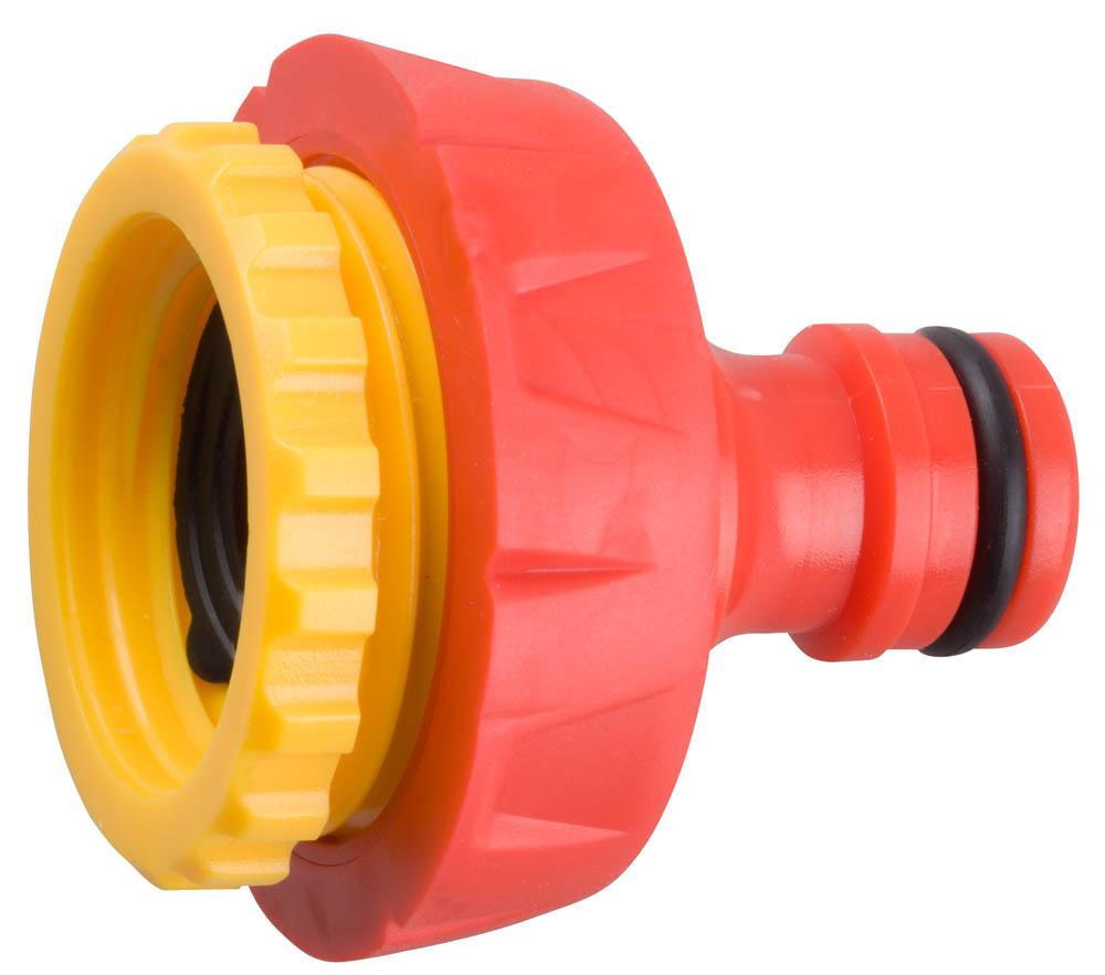 """Адаптер GRINDA внешний применяется в качестве переходника между соединителем и водопроводной трубой или краном с внешней резьбой 3/4"""", 1"""". Использование материалов высочайшего качества вместе с последними технологиями производства гарантируют удобство в работе и долгий срок службы. Уплотнительные кольца изготовлены из EPDM (этилен-пропилен-даен-метилен) резины повышенной эластичности, устойчивой к температурным и химическим воздействиям.-Размер: 3/4""""-1""""; -Материал изделия: пластик/резина; -Материал уплотнительного кольца: EPDM."""