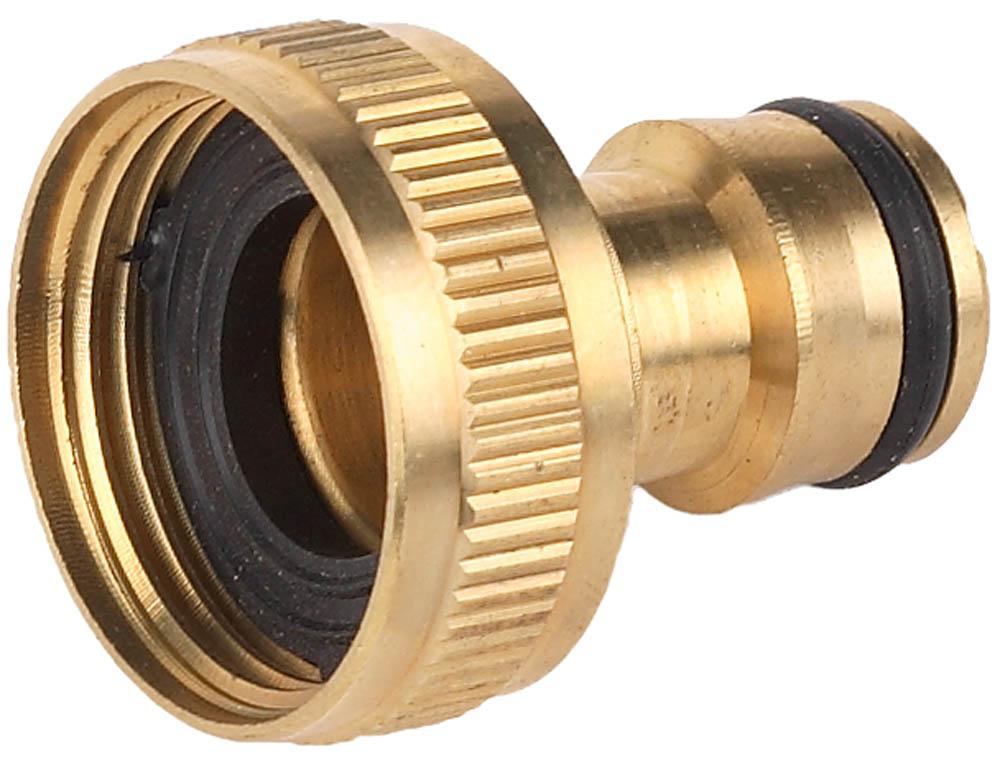 """Адаптер GRINDA внешний применяется в качестве переходника между соединителем и водопроводной трубой или краном с внешней резьбой 1"""". Изготовлен из высококачественной латуни и отполирован. Уплотнительные кольца изготовлены из EPDM(этилен-пропилен-даен-метилен) резины повышенной эластичности, устойчивой к температурным и химическим воздействиям.-Размер: 1""""; -Материал изделия: латунь; -Материал уплотнительного кольца: EPDM."""