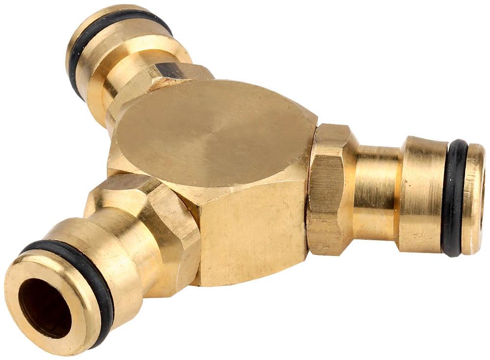 Тройник GRINDA применяется для разветвления поливочного шланга с помощью соединителей. Уплотнительные кольца всех изделий изготовлены из EPDM-резины повышенной эластичности, обеспечивающей устойчивость к температурным и химическим воздействиям. Изготовлен из высококачественной латуни и отполирован. Уплотнительные кольца изготовлены из EPDM (этилен-пропилен-даен-метилен) резины повышенной эластичности, устойчивой к температурным и химическим воздействиям.-Материал изделия: латунь;-Материал уплотнительного кольца: EPDM.