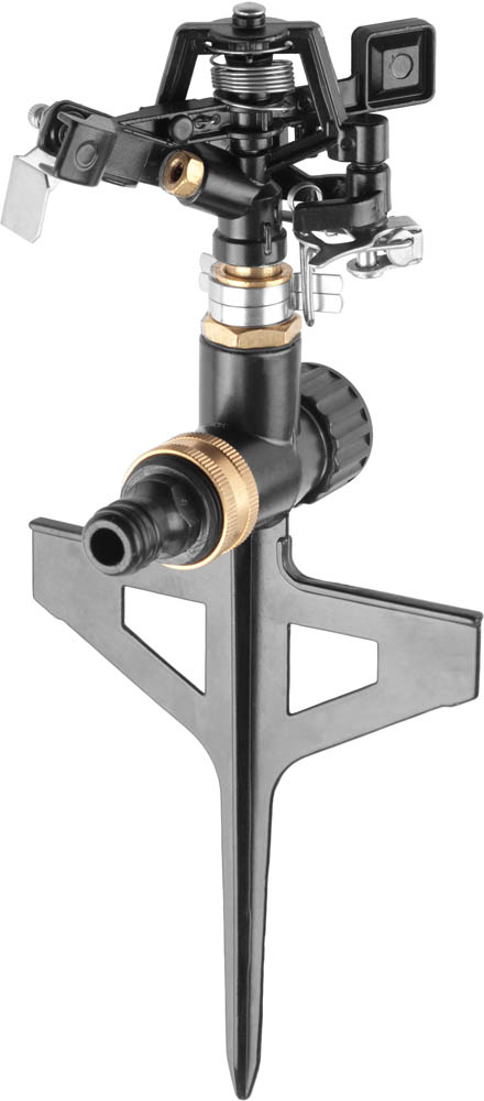 Распылитель GRINDA применяется для стационарного полива растений при подключении к водопроводному шлангу с помощью соединителя. Распылитель изготовлен из сплава цинка, не подверженного коррозии. Распылитель снабжен двумя соединительными гнездами, что позволяет использовать его в цепочке из нескольких распылителей. Возможность регулировки поворота головки импульсного распылителя на угол от 0° до 180° обеспечивает полив заданного сектора. Металлическая пика специальной формы надежно фиксирует распылитель в почве, препятствуя его расшатыванию и изменению сектора полива.