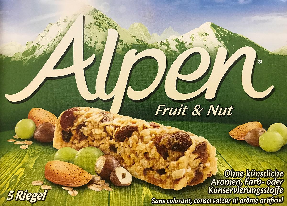 Alpen Батончик с изюмом и орехами, 5 шт по 28 г батончик злаковый fortuche мюсли с какао упаковка 30 шт х25гр