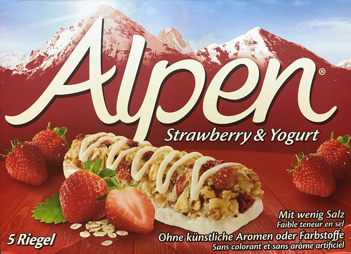 Alpen Батончик c яблоком, клубникой  йогуртом, 5 шт по 29