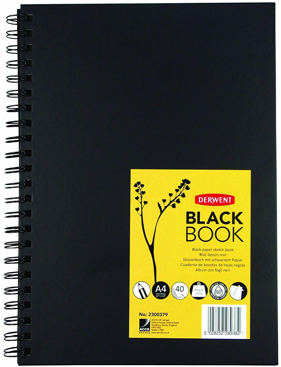Derwent Альбом для зарисовок Black Book 40 листов формат A4 black note альбом для рисования на черной бумаге