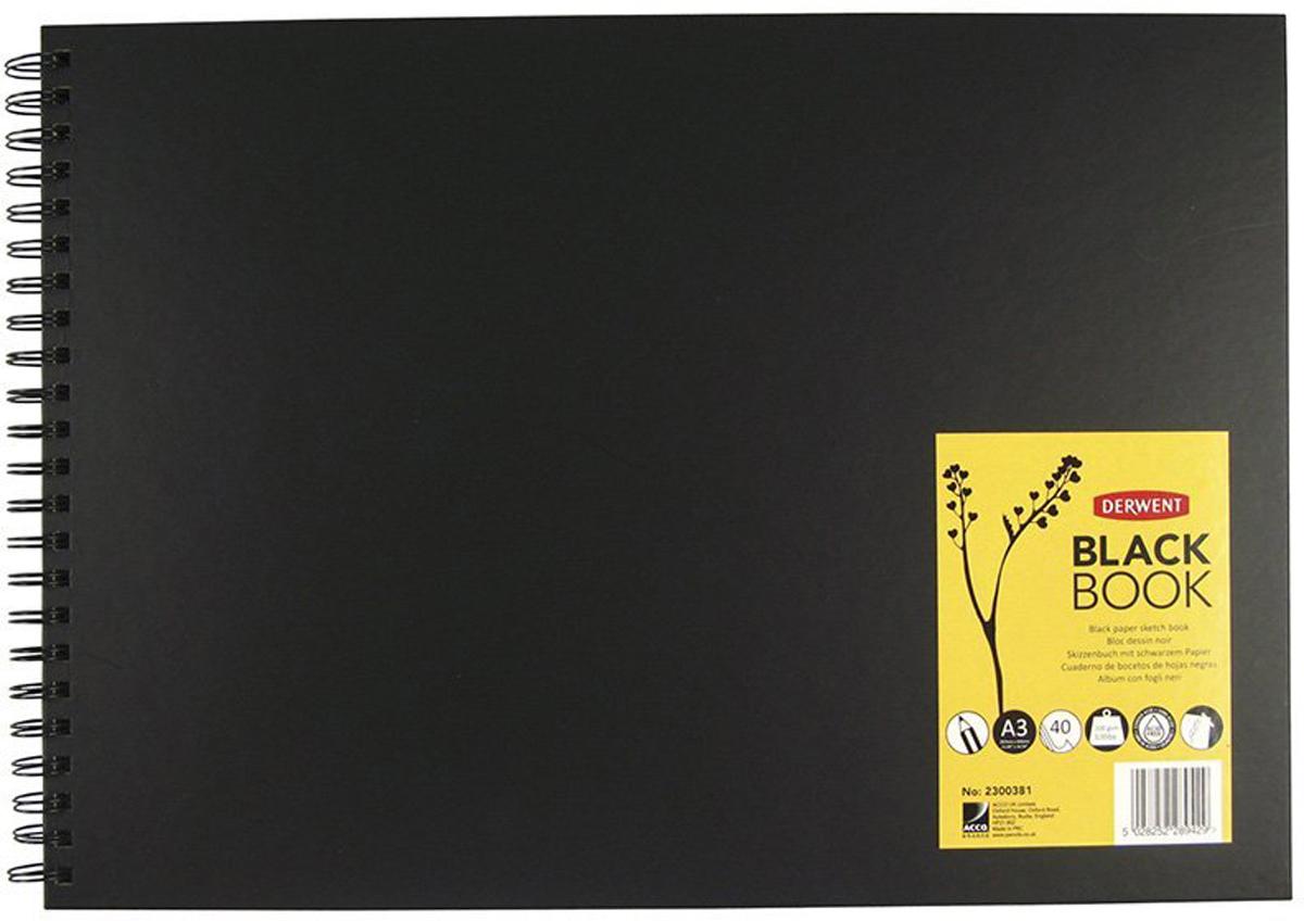 Derwent Альбом для зарисовок Black Book 40 листов формат A3 black note альбом для рисования на черной бумаге