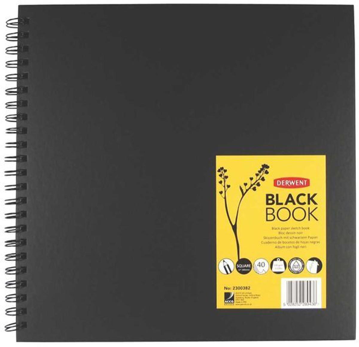 Derwent Альбом для зарисовок Black Book 40 листов формат 30 x 30 см black note альбом для рисования на черной бумаге