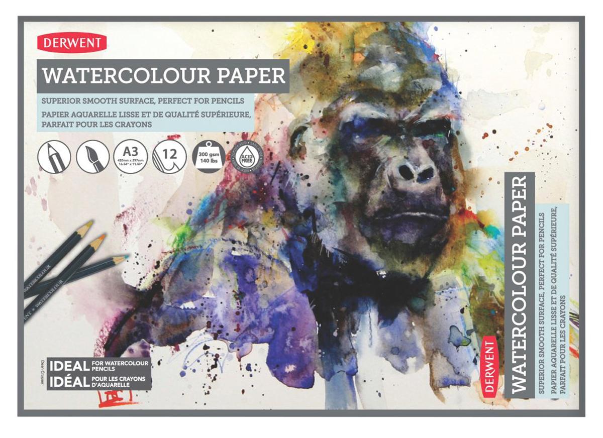 Derwent Альбом для акварельных карандашей 12 листов формат A3 24 36 48 72 lapis de cor profissional colored pencils watercolor pencils lead water soluble color painting pen student supplies