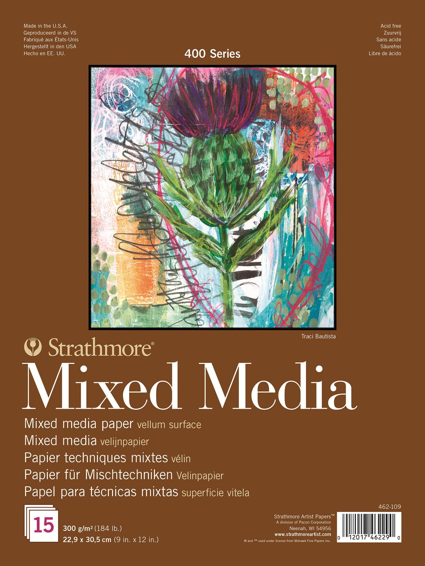 Strathmore Альбом для смешанных техник 400 Series 15 листов формат A4+ strathmore st360 111 300 series 11 x 15 cold press tape bound watercolor pad