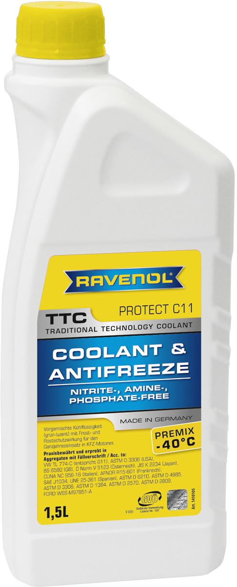 """Антифриз Ravenol """"TTC Traditional Technology Coolant Premix"""", готовый, цвет: желтый, 1,5 л 1410105-150-01-999"""