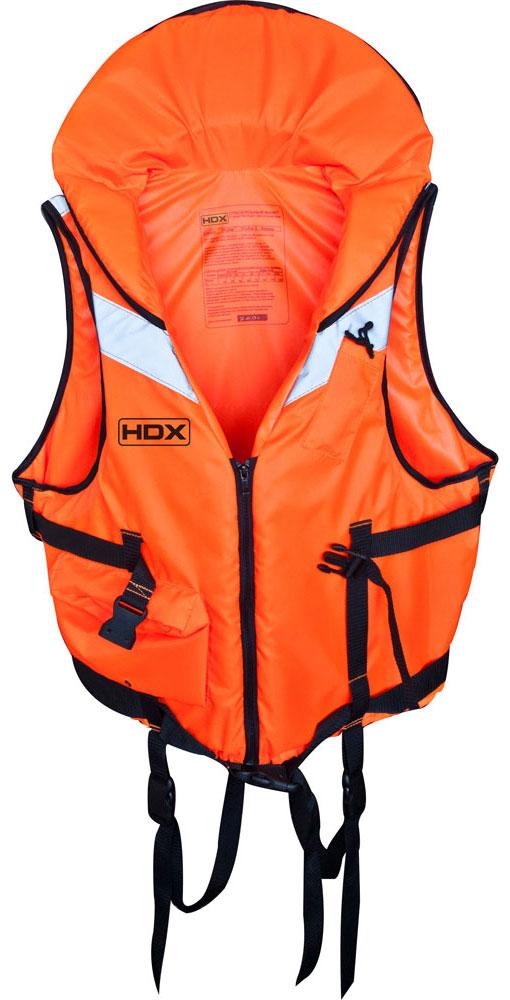 Жилет спасательный HDX Рыбак, цвет: оранжевый. Размер L61980Жилет спасательный HDX Рыбак отличается наличием подголовника и застежки - молнии. Фиксация жилета на теле осуществляется при помощи силовой стропы шириной 50 мм, и силовой пряжкой - фастексом, с возможностью индивидуальной подгонки.Дополнительно жилет фиксируется в верхней части стропой и фастексом меньшего размера. Для обеспечения наибольшей безопасности жилет необходимо дополнительно фиксировать съемными паховыми стропами с пряжками - фастексами.Жилет снабжен световозвращающими вставками на груди и спине, и свистком (с фонариком) на бечевке для подачи световых и звуковых сигналов. В жилете предусмотрен карман на «молнии» для мелочей.L - от 95кг.