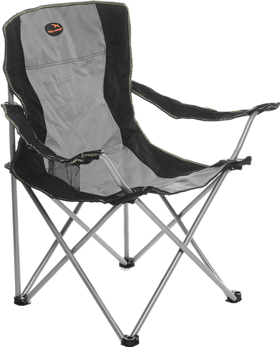 Кресло складное с сиденьем из полиэстера на каркасе из стали, с тканевым подстаканником в подлокотнике.