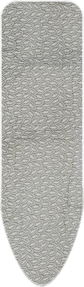 Чехол для гладильной доски Paterra Цветы, с поролоном, цвет: серый, белый, 146 х 55 см чехол для гладильной доски brabantia ящерица с войлоком 124 см х 38 см цвет голубой 265006