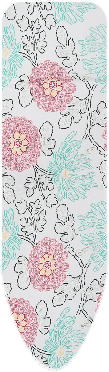 Чехол для гладильной доски Paterra Цветы, с поролоном, цвет: красный, зеленый, 146 х 55 см чехол для гладильной доски paterra цветы с поролоном цвет кремовый сиреневый 146 х 55 см