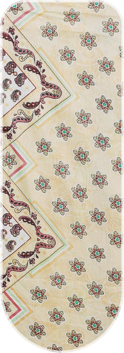 Чехол для гладильной доски Eva, цвет: бежевый, 129 х 45 смЕ1303_бежевый, узор, цветочки