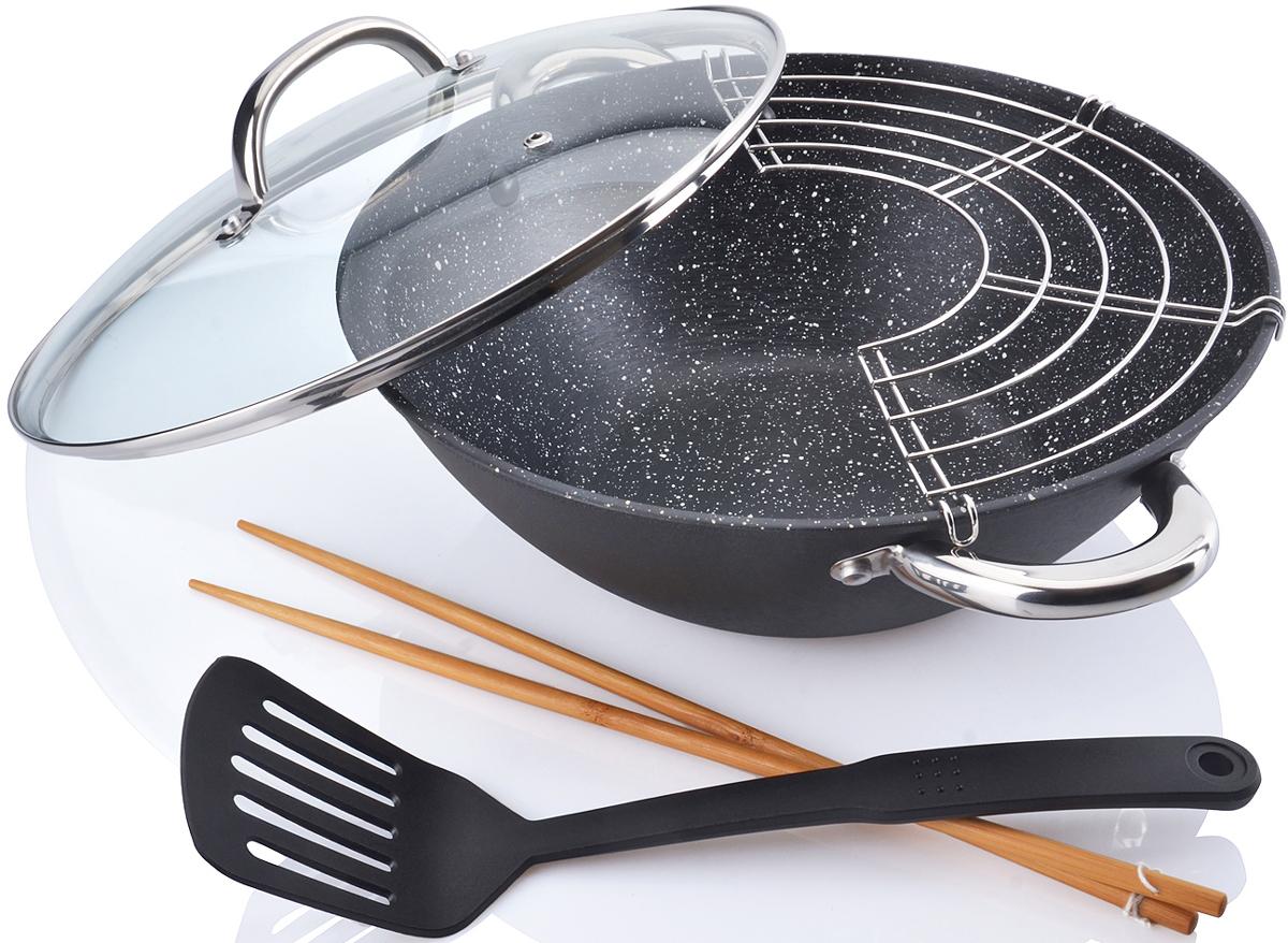 """Казан """"Mayer & Boch"""", изготовленный из чугуна, идеально подходит для жарки продуктов на раскаленном масле и приготовления блюд азиатской кухни. Его можно использовать для приготовления плова, густого супа, рагу. Казан имеет антипригарное покрытие, обеспечивающее посуде долговечность и легкость очистки. Благодаря толстым стенкам и антипригарному покрытию тепло равномерно распределяется по всей поверхности посуды и долго сохраняется. Индукционное дно значительно снижает вероятность пригорания пищи. Казан снабжен короткими ручками из нержавеющей стали. Стеклянная крышка с металлическим ободом позволит вам следить за процессом приготовления блюда. Подходит для использования на всех типах кухонных плит, включая индукционные.  Подходит для мытья в посудомоечной машине."""