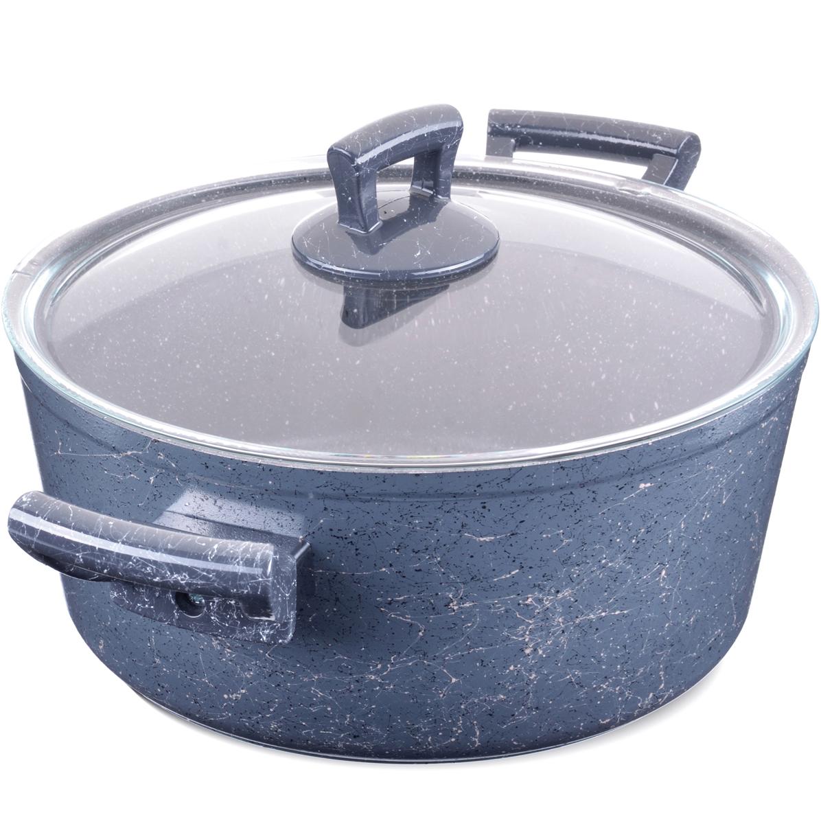 """Кастрюля """"Mayer & Boch"""" изготовлена из литого алюминия, что исключает возможность деформации и гарантирует долгий срок службы. Утолщенное, выполненное из алюминия и нержавеющей стали, индукционное дно обеспечивает идеальный контакт с конфоркой и способствует равномерному разогреванию пищи. Мраморное антипригарное покрытие позволяет готовить, практически не используя растительное масло, что значительно увеличивает полезность приготовляемой еды. Бакелитовые ручки кастрюли не нагреваются. Крышка из жаропрочного стекла. Подходит для всех видов плит, включая индукционные."""