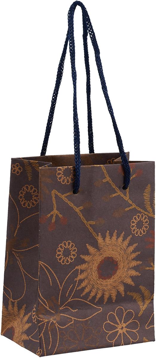 Пакет подарочный, цвет: темно-коричневый, 8 х 11 х 5 см пакет подарочный арт и дизайн вояж цвет мультиколор 36 х 26 х 11 5 см 3092217