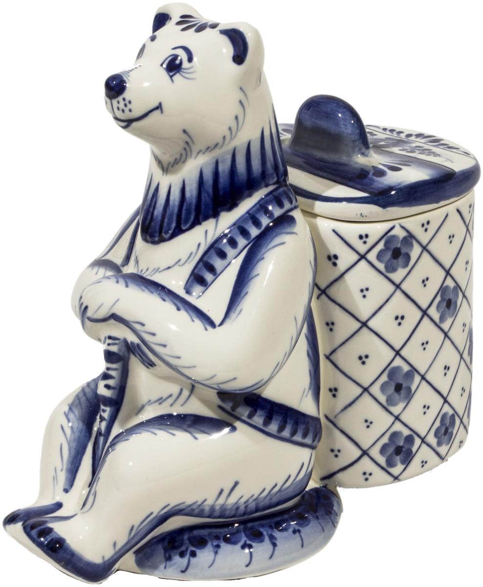 """Медовница """"Медведь"""" ручной работы.Можно использовать как сахарницу. Ручная подглазурная кобальтовая роспись. Рисунок на изделии может отличаться от изображения на фотографии."""