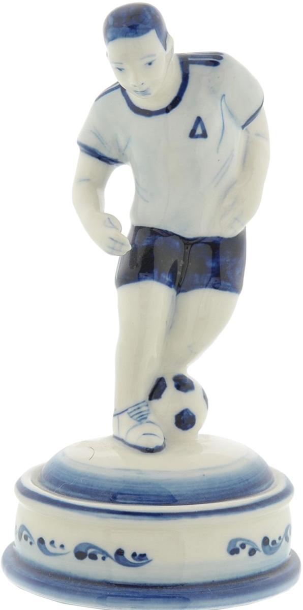 Скульптура АМК Футболист, кобальтовая роспись Гжель скульптура собака гжель 8530