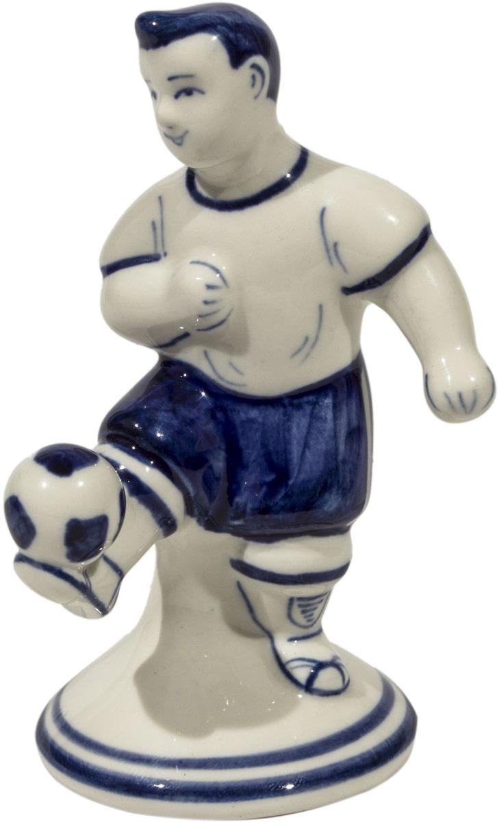 Скульптура АМК Футболист малый, кобальтовая роспись Гжель скульптура собака гжель 8530